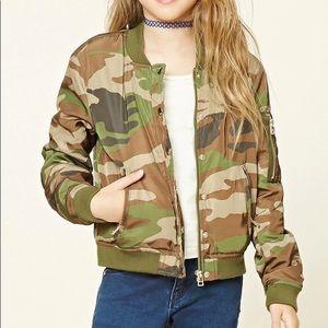 Forever 21 Girls Camo Bomber Jacket